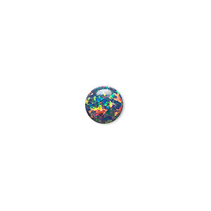 cabochon, opal (man-made), multicolored, 8mm calibrated round. sold individually.