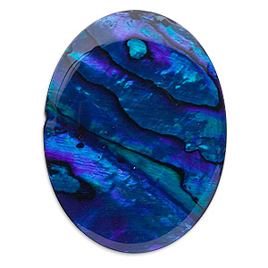 cabochon, paua shell (coated / dyed), blue, 40x30mm calibrated oval, mohs hardness 3-1/2. sold individually.