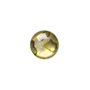 cabochon, paua shell (coated / dyed), gold, 12mm calibrated round, mohs hardness 3-1/2. sold per pkg of 4.