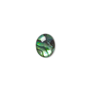 cabochon, paua shell (coated / dyed), green, 10x8mm calibrated oval, mohs hardness 3-1/2. sold per pkg of 6.