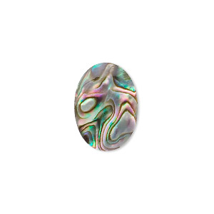 cabochon, paua shell (coated), 18x13mm calibrated oval, mohs hardness 3-1/2. sold per pkg of 4.
