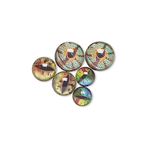 cabochon, resin and paper, assorted bright colors, 12mm / 15mm / 18mm non-calibrated round with dragon eye design. sold per pkg of 3 pairs.