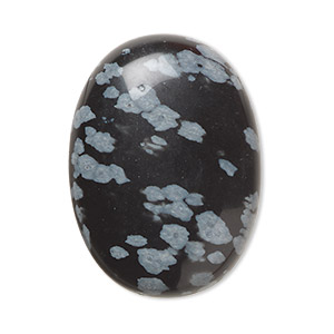 cabochon, snowflake obsidian (natural), 30x22mm calibrated oval, b grade, mohs hardness 5 to 5-1/2. sold per pkg of 2.
