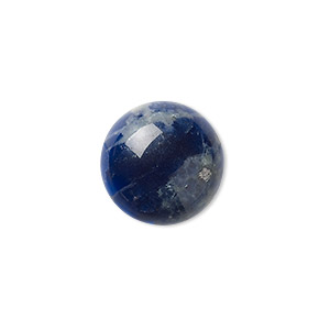 cabochon, sodalite (natural), 18mm calibrated round, b grade, mohs hardness 5 to 6. sold per pkg of 2.