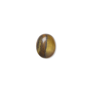 cabochon, tigereye (natural), 10x8mm calibrated oval, b grade, mohs hardness 7. sold per pkg of 10.