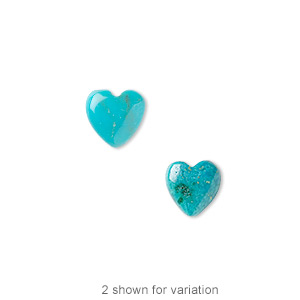 cabochon, turquoise (dyed / stabilized), blue, 8x8mm calibrated heart, b grade, mohs hardness 5 to 6. sold per pkg of 4.