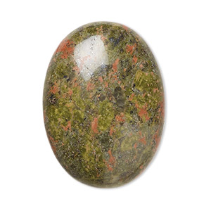 cabochon, unakite (natural), 30x22mm calibrated oval, b grade, mohs hardness 6 to 7. sold per pkg of 2.