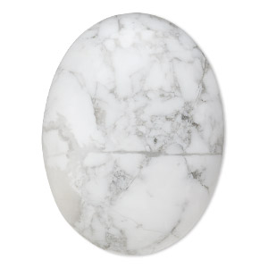 cabochon, white howlite (natural), 40x30mm calibrated oval, b grade, mohs hardness 3 to 3-1/2. sold individually.