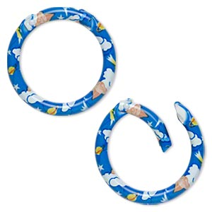 carabiner, aluminum with decal, blue/white/yellow, 48mm round with clouds/shooting stars/planets/angels pattern and steel spring latch, 6mm thick. sold individually.
