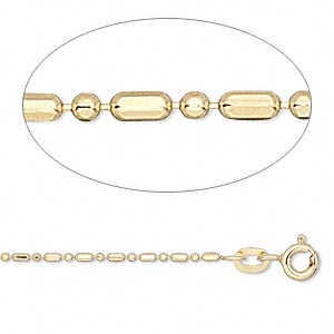 chain, 14kt gold, 1.2mm round and capsule, 24-inch. sold individually.