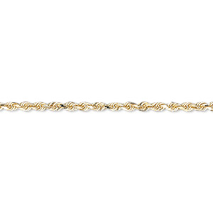 chain, 14kt gold, 2mm diamond-cut french rope, 6-1/2 inches with lobster claw clasp. sold individually.