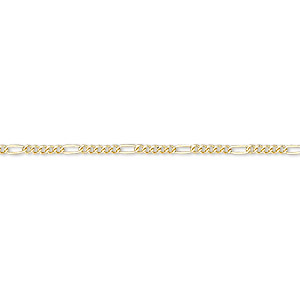 chain, 14kt gold-filled, 1.5mm flat figaro. sold per pkg of 5 feet.