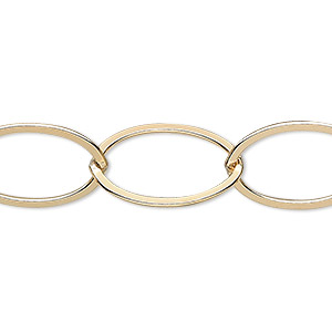 chain, 14kt gold-filled, 20x14mm flat cable. sold per pkg of 5 feet.