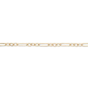 chain, 14kt gold-filled, 2mm flat figaro. sold per pkg of 5 feet.