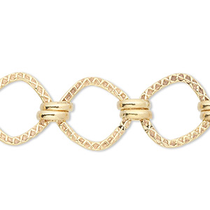 chain, 14kt gold-filled, 3mm double round and 8x8mm knurled square. sold per pkg of 5 feet.