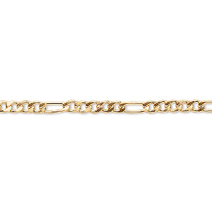 chain, 14kt gold-filled, 3mm flat figaro. sold per pkg of 5 feet.