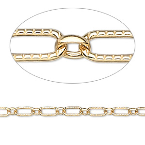 chain, 14kt gold-filled, 3mm round and ribbed oval. sold per pkg of 5 feet.
