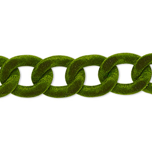 chain, aluminum, flocked green, 13mm curb. sold per pkg of 24 inches.
