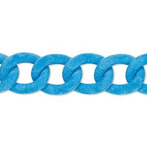 chain, aluminum, flocked light blue, 13mm curb. sold per pkg of 24 inches.