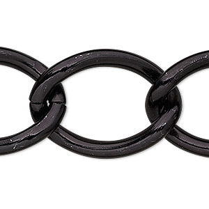 chain, anodized aluminum, black, 23mm curb. sold per pkg of 5 feet.