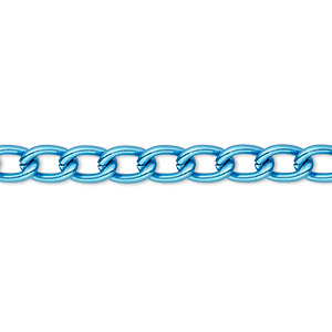 chain, anodized aluminum, blue, 5mm curb. sold per pkg of 5 feet.