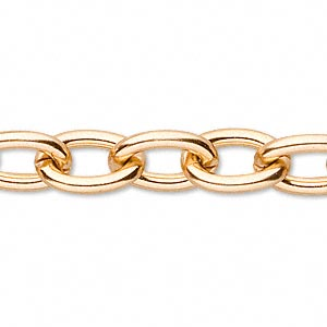 chain, anodized aluminum, gold, 11mm oval cable. sold per pkg of 25 feet.