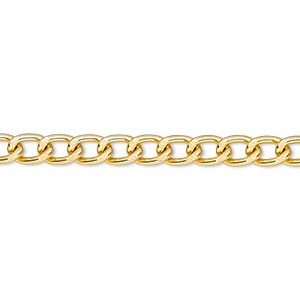 chain, anodized aluminum, gold, 4mm curb. sold per pkg of 25 feet.