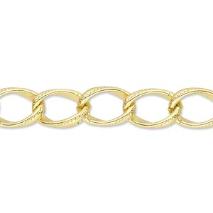chain, anodized aluminum, gold, 8mm curb. sold per pkg of 5 feet.