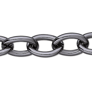 chain, anodized aluminum, gunmetal, 14mm oval cable. sold per pkg of 5 feet.