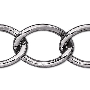 chain, anodized aluminum, gunmetal, 23mm curb. sold per pkg of 25 feet.