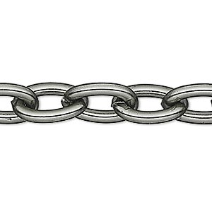 chain, anodized aluminum, gunmetal, 5mm oval cable. sold per pkg of 5 feet.