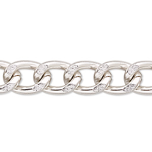 chain, anodized aluminum, silver, 10mm curb. sold per pkg of 5 feet.