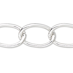 chain, anodized aluminum, silver, 15mm curb. sold per pkg of 5 feet.