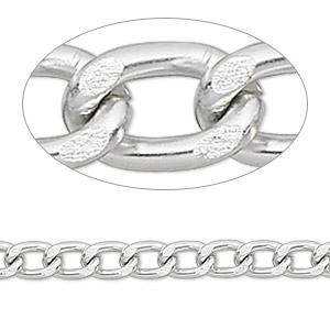 chain, anodized aluminum, silver, 5mm curb. sold per pkg of 5 feet.