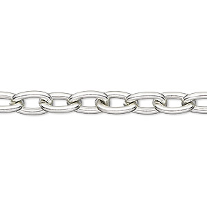 chain, anodized aluminum, silver, 5mm oval cable. sold per pkg of 25 feet.