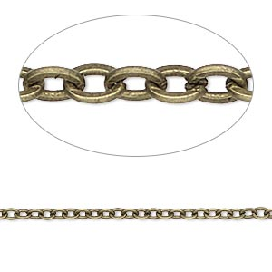 chain, antique brass-plated steel, 2mm flat cable. sold per pkg of 25 feet.