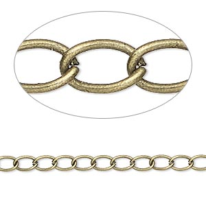 chain, antique brass-plated steel, 3mm curb sold per pkg of 25 feet.