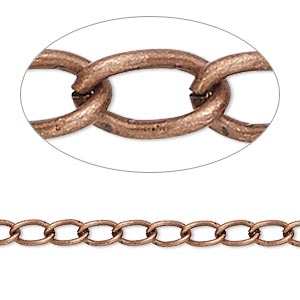 chain, antique copper-plated brass, 4mm curb. sold per pkg of 5 feet.