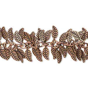 chain, antique copper-plated brass, 7x3.5mm double-sided leaf. sold per pkg of 1 foot.