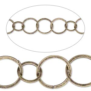 chain, antique gold-plated brass, 10mm and 14mm open flat round. sold per pkg of 5 feet.