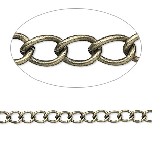chain, antique gold-plated brass, 3.5mm curb. sold per pkg of 5 feet.