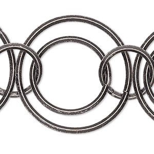 chain, antique silver-plated brass, 11mm/16mm/23mm interlocking rounds. sold per pkg of 5 feet.