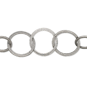 chain, antique silver-plated brass, 14mm flat round cable. sold per pkg of 5 feet.