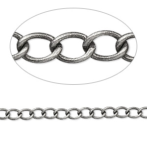 chain, antique silver-plated brass, 3.5mm curb. sold per pkg of 5 feet.