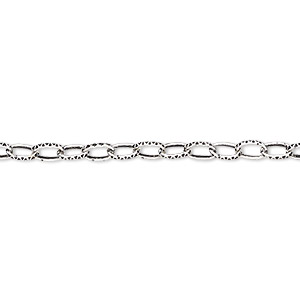 chain, antique silver-plated steel, 3mm textured cable. sold per pkg of 5 feet.