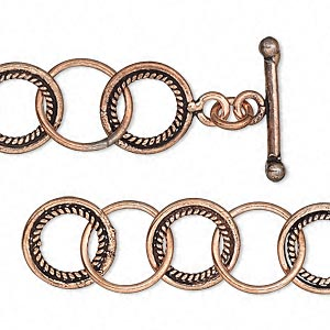 chain, antiqued copper, 13mm round cable, 36 inches with toggle clasp. sold individually.