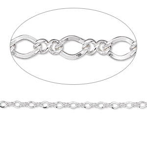 chain, argentium silver, 2mm figure 8. sold per pkg of 5 feet.
