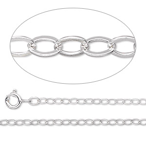 chain, argentium silver, 2mm oval cable, 18 inches with springring clasp. sold individually.