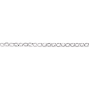 chain, argentium silver, 2mm oval cable. sold per pkg of 5 feet.