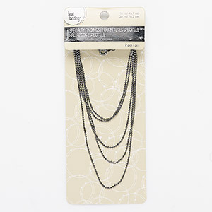 chain, bead landing™, gunmetal-finished steel and aluminum, 1.5mm ball, 18-inch chain and 30-inch chain with springring clasp. sold per pkg of 2.